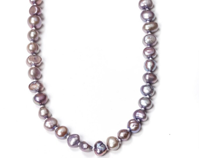 Lilac Grey Purple Pearl Necklace Freshwater Pearls Handmade Knotted 292 16H