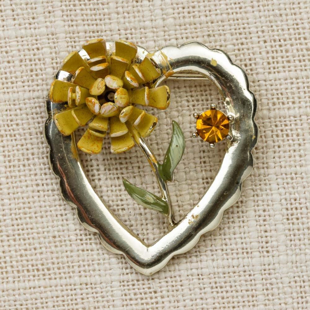 Yellow Flower Heart Brooch Vintage Rhinestone Enamel Coro Broach