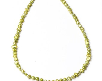 Moss Green Pearl Necklace Freshwater Pearls Handmade Sage 296 16H