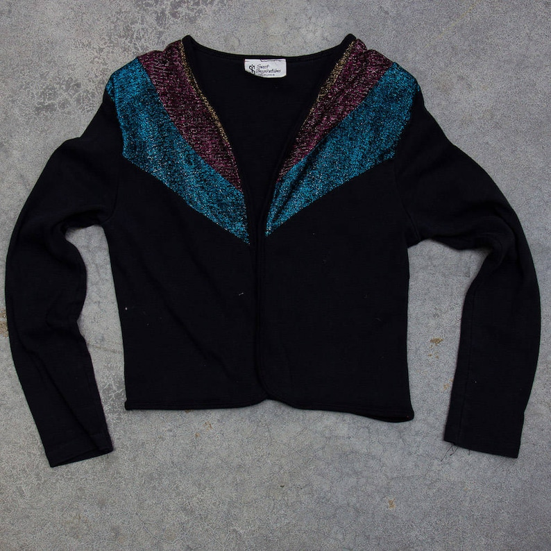 Metallic 1970s Cardigan Glitter Blue Pink and Bronze 1970s 80s image 0