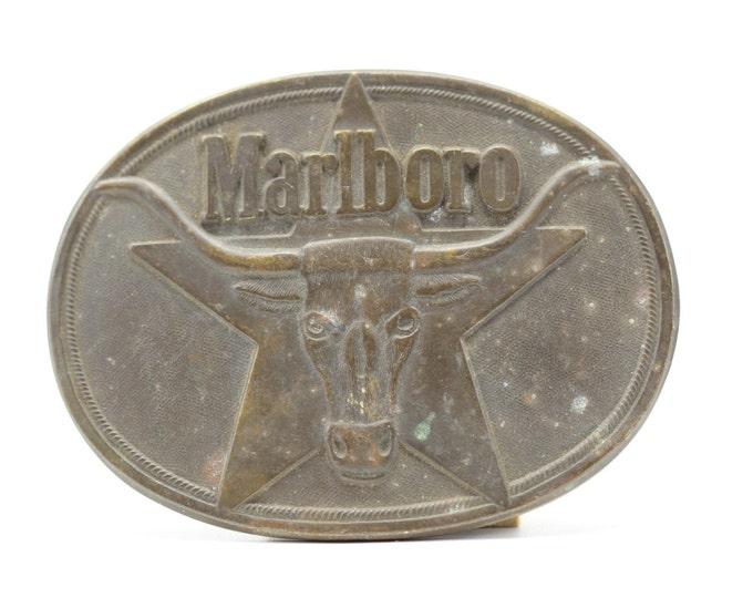 Vintage Marlboro Cigarette Belt Buckle Mens Womens Accessory Brass Smoking Cigarettes Advertising Smoker Star Longhorn 16B
