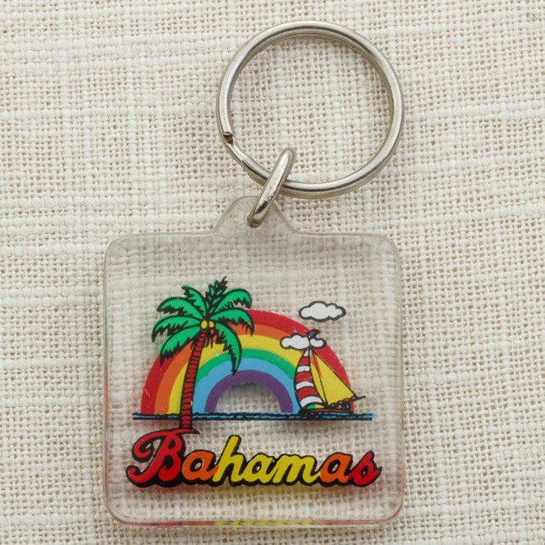 Bahamas Vintage Keychain Rainbow Palm Tree Coconuts Sailboat image 0