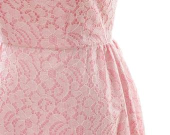 Small Medium 1960s Vintage Lace Pink Maxi Dress 4AA