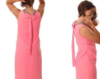 XS Small 1960's Vintage Beaded Pink Dress 4AA
