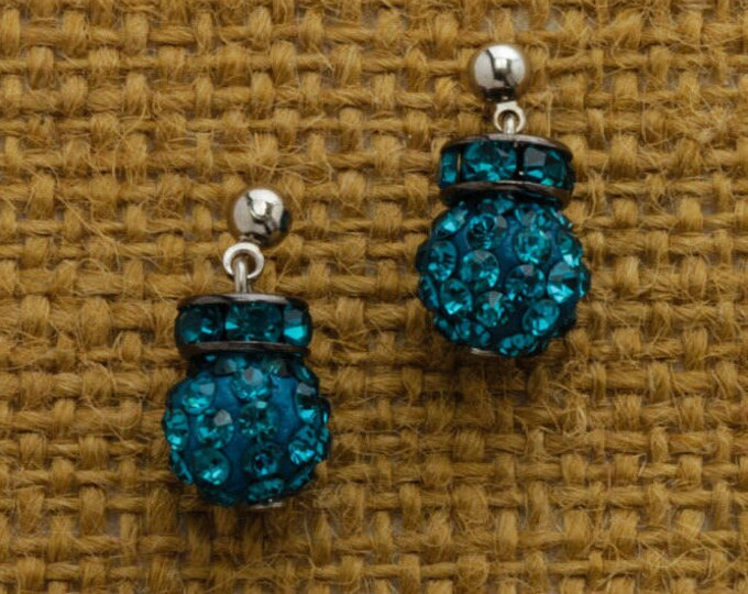 Teal Rhinestone Earring Silver Post Handcrafted 6H