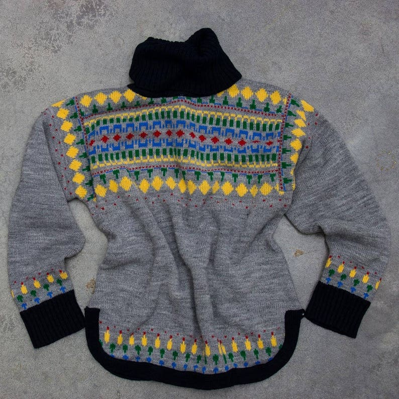 Colorful Fair Isle Sweater Vintage Cowl Neck Winter Jumper image 0
