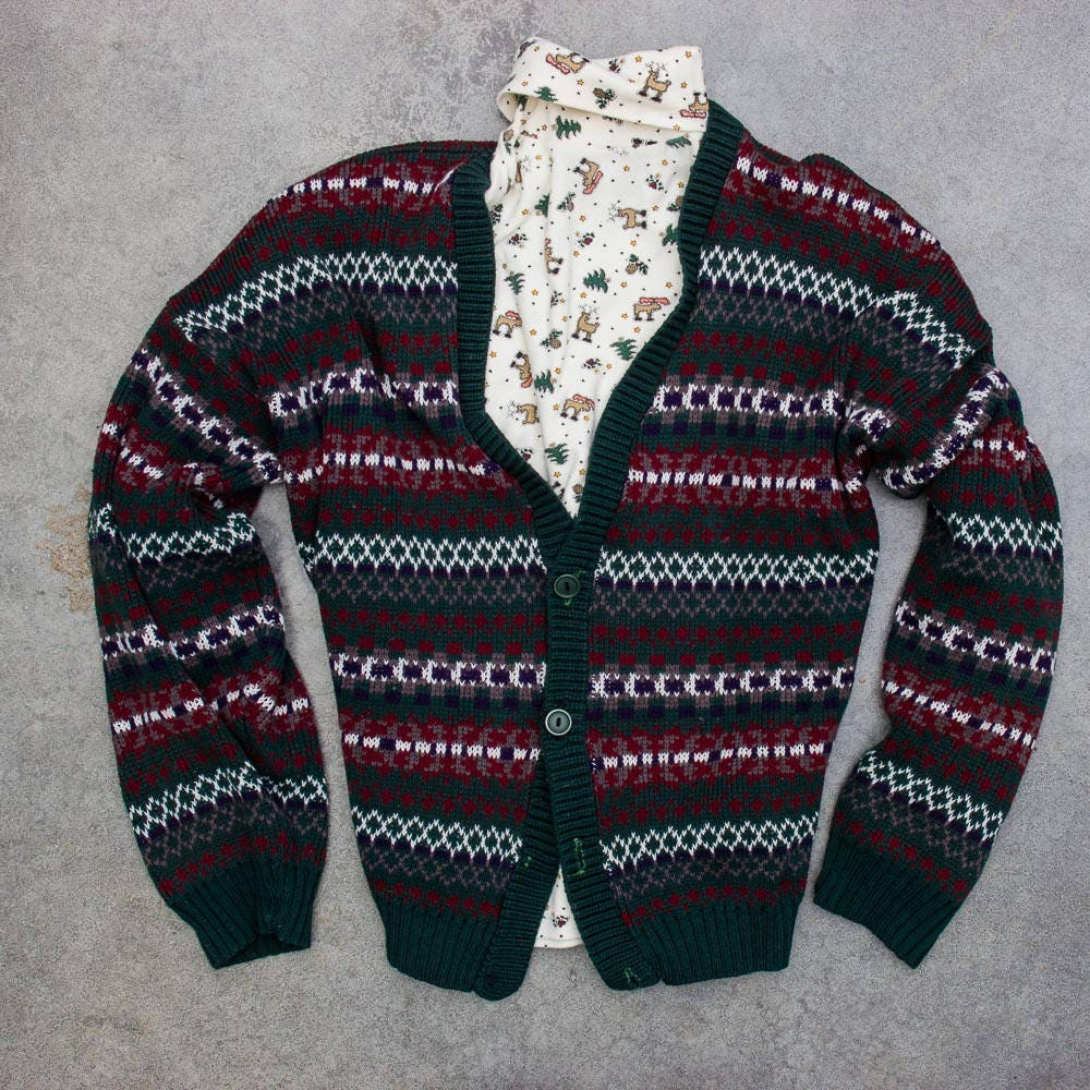 Oversized Ugly Christmas Sweater Cardigan Turtleneck Jumper 7CH