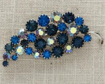 Vintage Blue Rhinestone Leaf Brooch | AB Iridescent Silver Tone Metal | 1950s 60s Mod Broach | Crystal Jewelry Bouquet | Vtg Pin 7C SALE