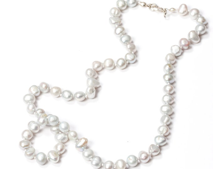 Ice Blue Pearl Necklace Freshwater Pearls Handmade Knotted 664 16H