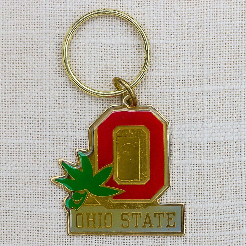 Vintage Ohio State Key Chain OSU Buckeyes Gold Red Keychain image 0