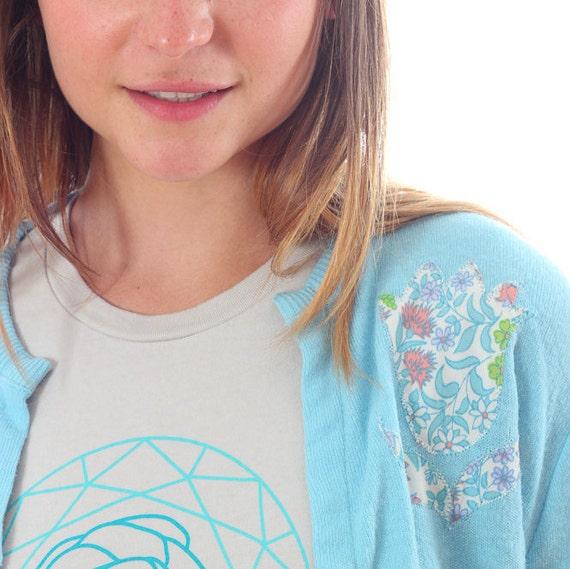 Medium Large 1960s Vintage Cardigan Blue Embroider
