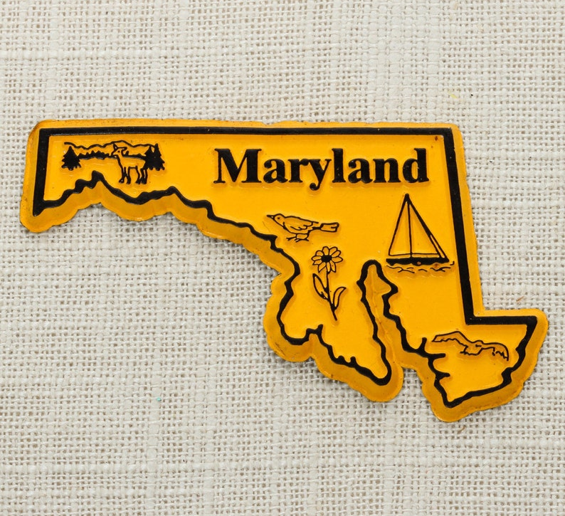 Travel Tourism Summer Vacation Memento Yellow Sailboat USA America Terrapins Refrigerator 5S Maryland Vintage State Silhouette Magnet