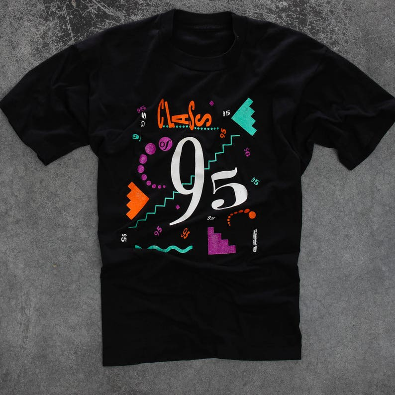 Class of 1995 Vintage Tee Shirt  Neon 90s T-Shirt Size XL image 0