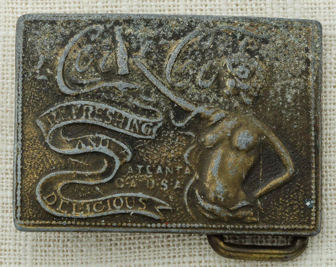 Coca Cola Belt Buckle Coke Naked Woman Refreshing And Delicious Atlanta Small Vintage Belt Buckle 16A