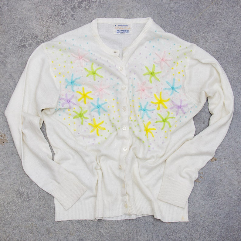 Pastel Flower Sweater Abstract 1960s White Vintage Cardigan image 0