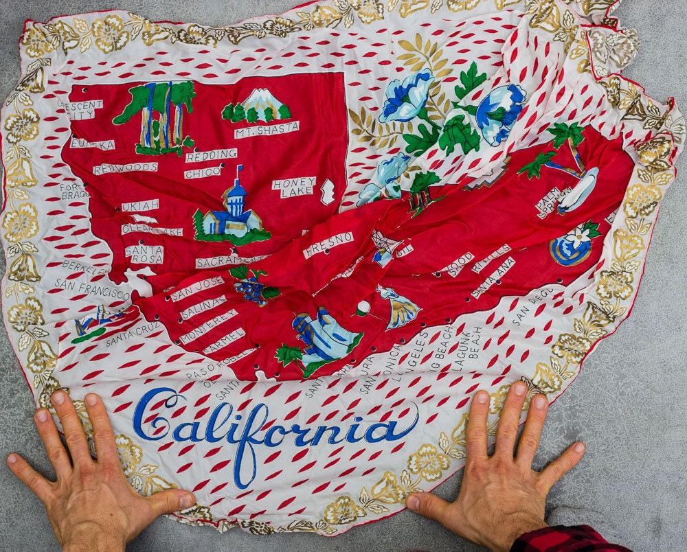 Vintage San Diego Map.California Vintage Scarf Souvenir Silk Map 1950s Sacramento Los