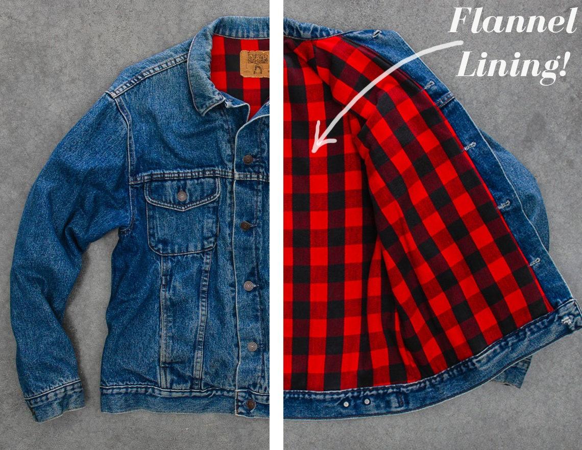 Vintage Gap Denim Jacket 1980s 90s Medium Wash Coat Red Flannel