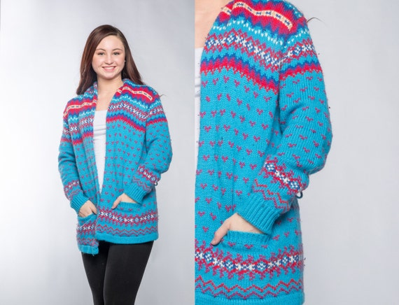 Large Bright Fair Isle Sweater Turquoise Red Pink