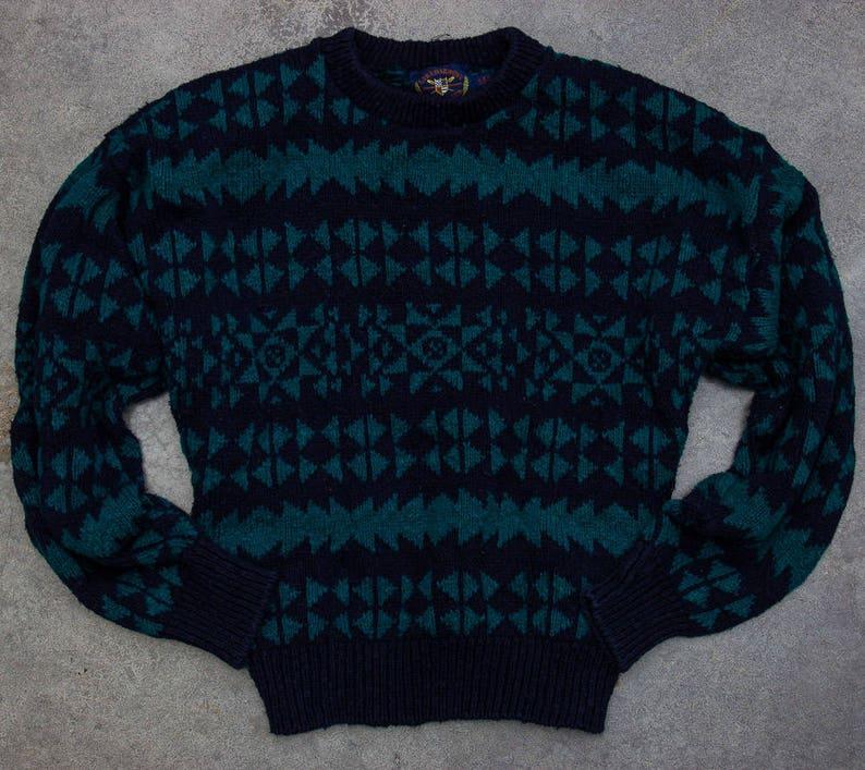 Oversized Geometric Sweater Unisex Navy Blue & Green Vintage image 0