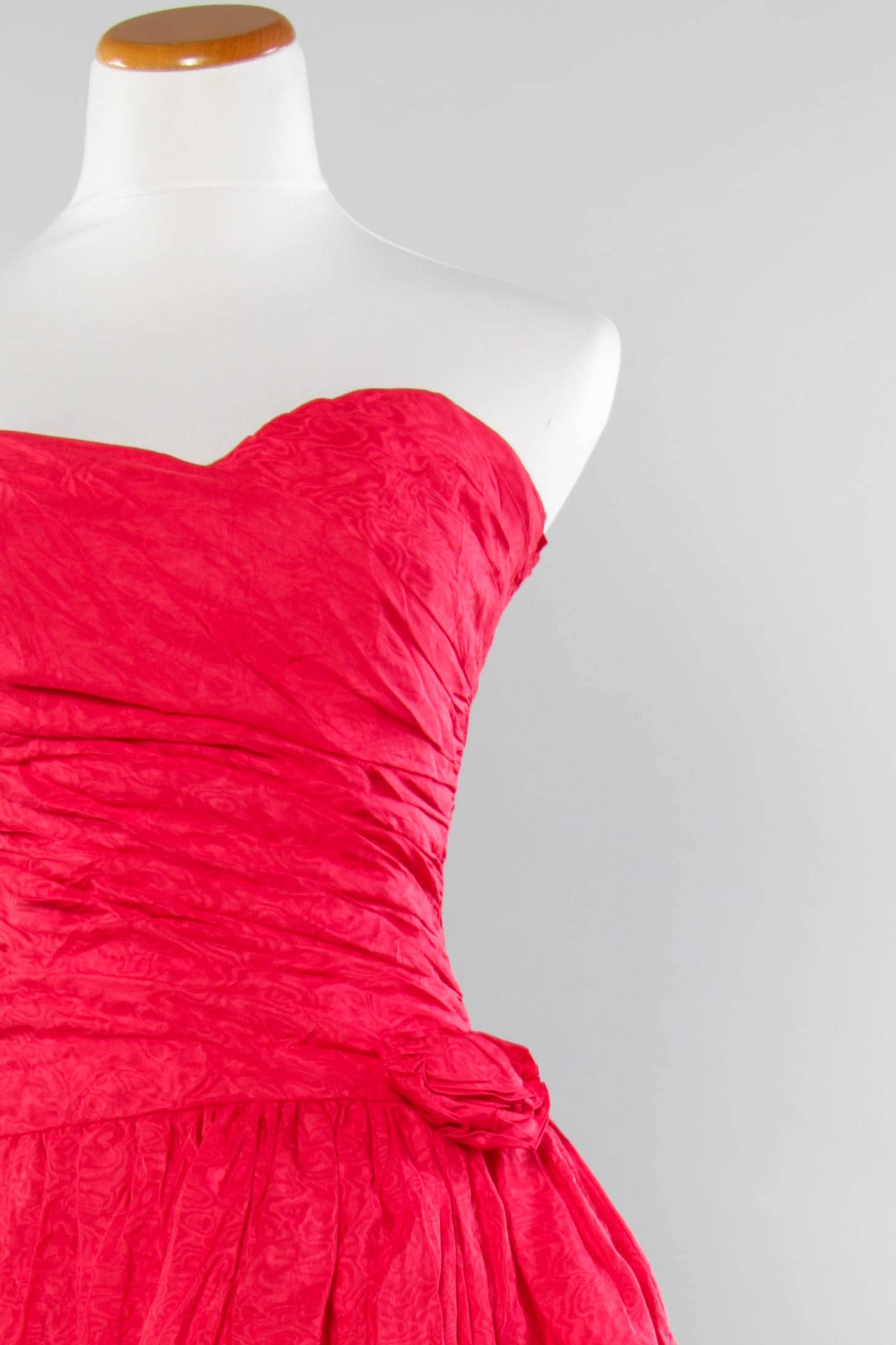80s Pink Party Dress | Hot Pink Taffeta Ruched Stretchy Prom Dress ...