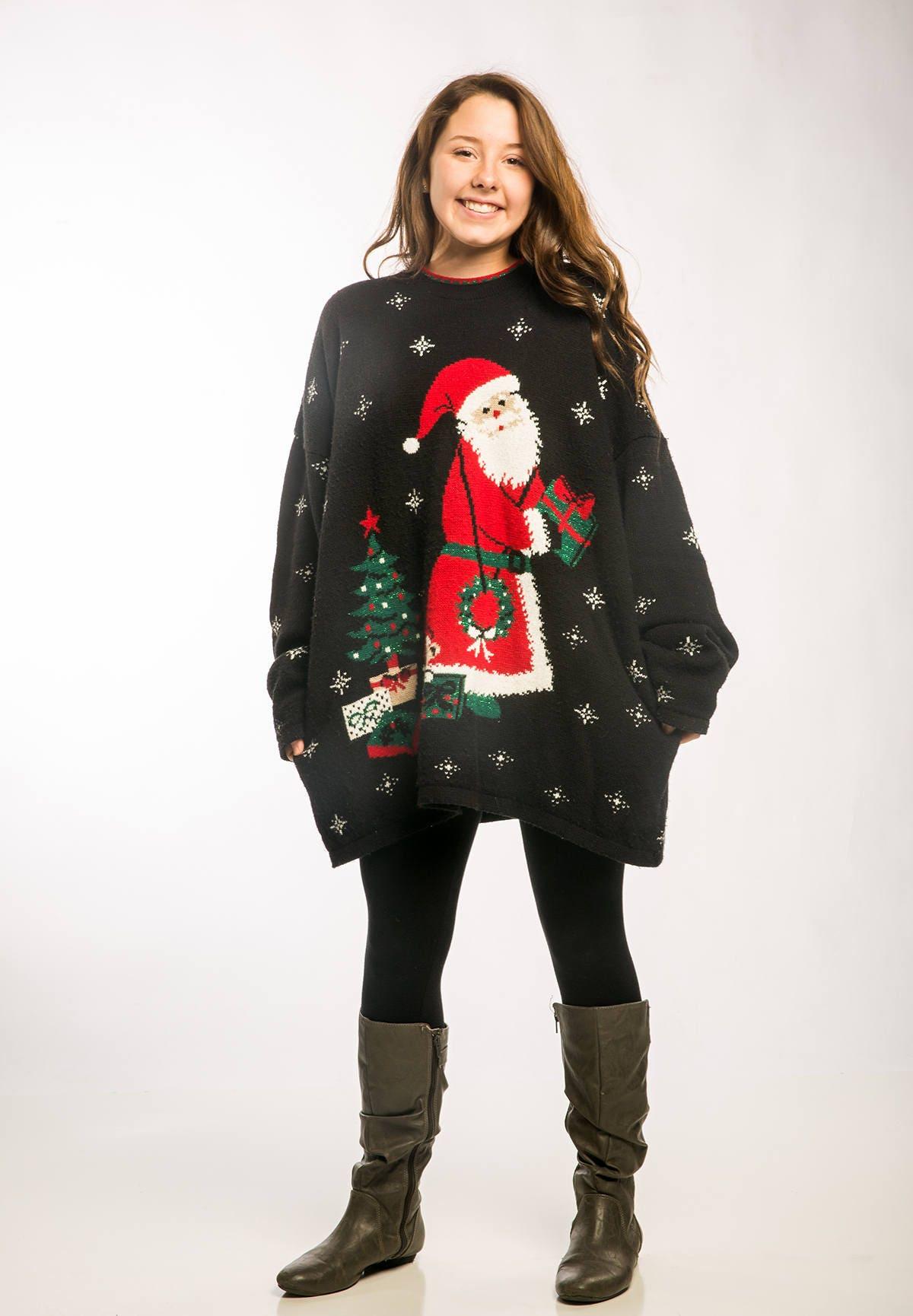 Oversized Vintage Ugly Christmas Sweater Santa Sweater Dress Metallic Green  SIZE XXXL
