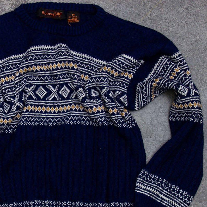 Navy Blue Fair Isle Sweater Vintage Winter Jumper Size LARGE image 0