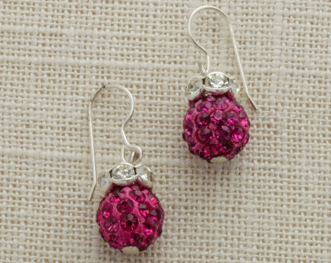 Fuschia Hot Pink Rhinestone Bead Earring Silver French Hooks Handcrafted 6H