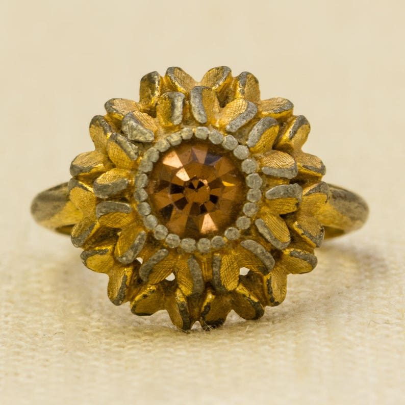 Amber Rhinestone Vintage Ring Flower Floral Gold Avon US image 0