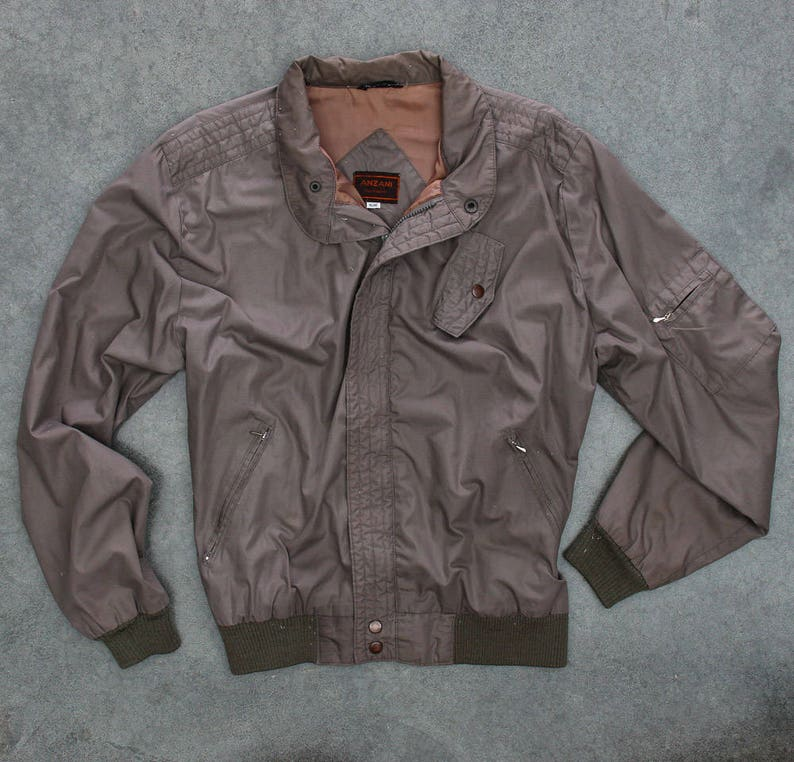 Tan Light Weight Jacket Vintage Grunge Multiple Pockets Soft image 0