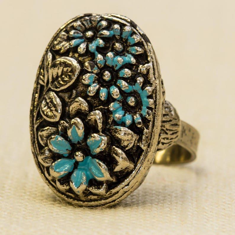 Oval Floral Vintage Statement Ring Silver Blue Enamel Flowers image 0