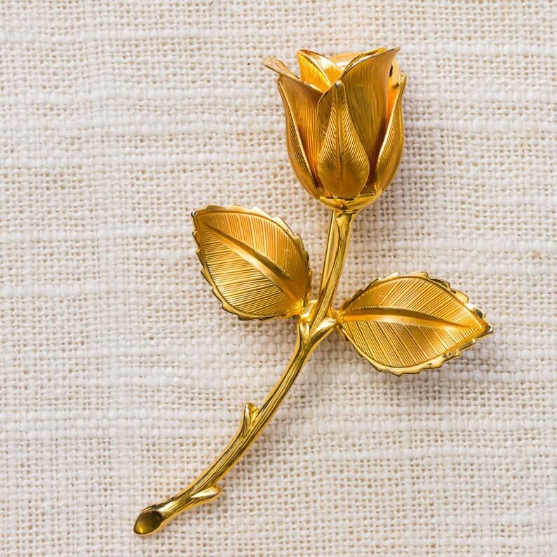 Gold Rose Brooch Flower Bud Etched Metal Vintage Broach Pin image 0