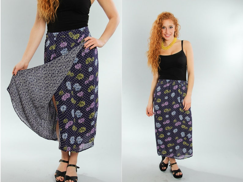 Small Vintage Floral Skirt Double Layer  Paisley Print image 0