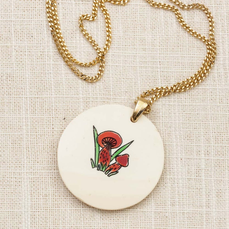 Red Mushroom Necklace Vintage Gold Hippie Long Chain Costume image 0