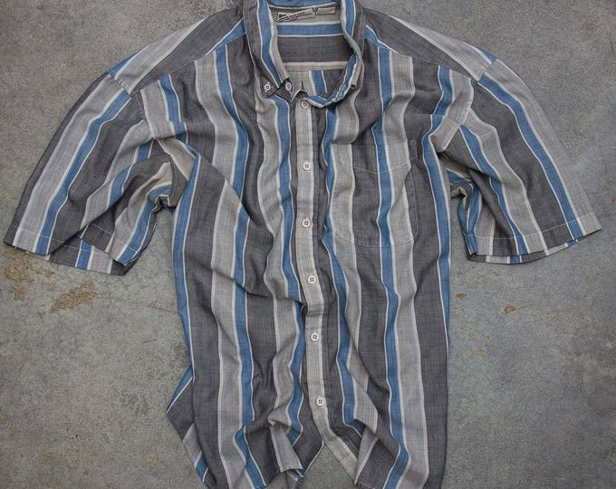Striped Neutral Men's Shirt Vintage Size XL Button Down Top Blue Grey Short Sleeve Mens 7W