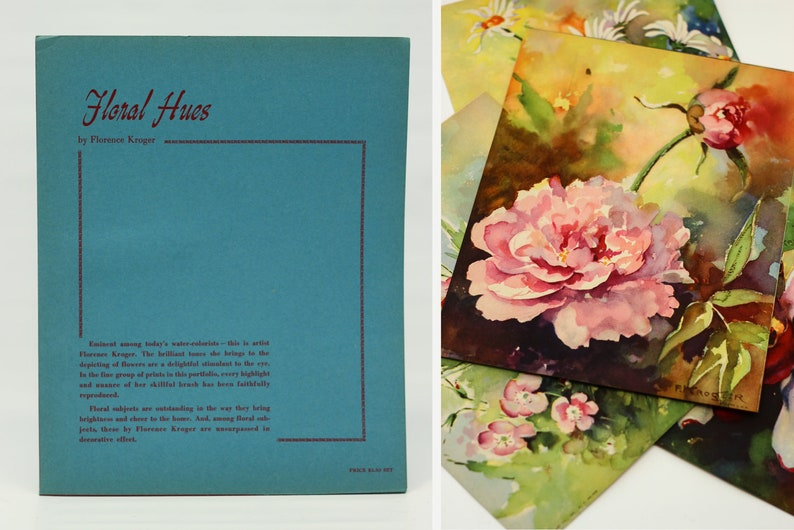 4 Vintage Daisy & Peony Wall Art Floral Prints  Set of 4 image 0
