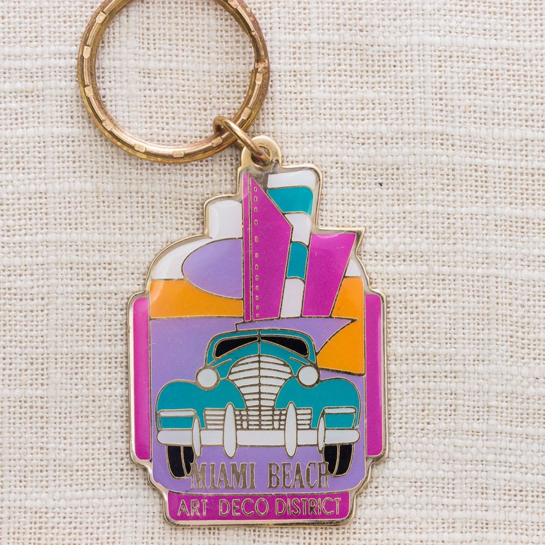 Miami Beach Art Deco District Vintage Keychain Colorful Retro image 0