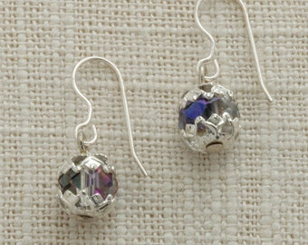 AB Iridescent Rhinestone Silver Earring French Hooks Handcrafted 6H