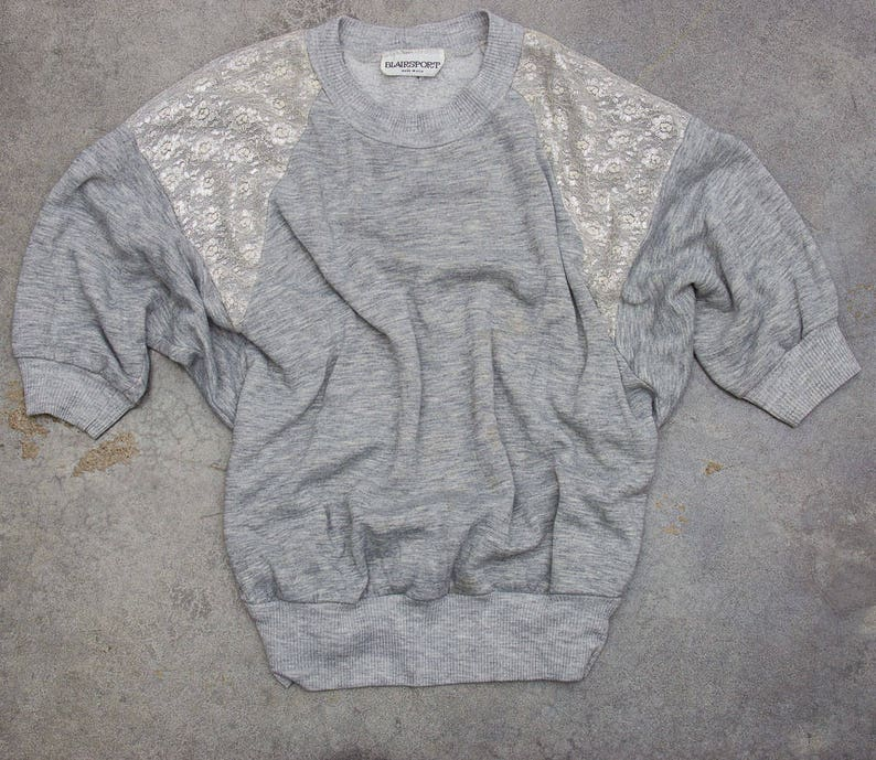 1980s Drapey Sweatshirt With Metallic Silver Lace Shoulders image 0