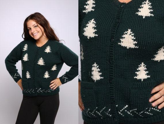 Medium Christmas Tree Sweater Gorgeous Wool Vintag