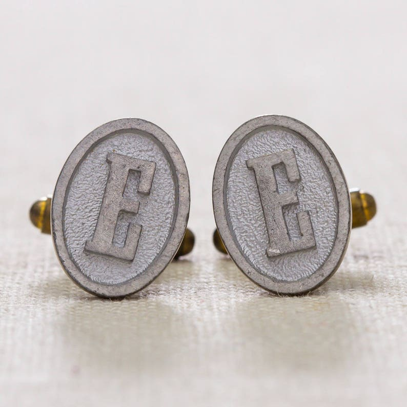 E Cuff Links Vintage Cufflinks Letter E Initial image 0