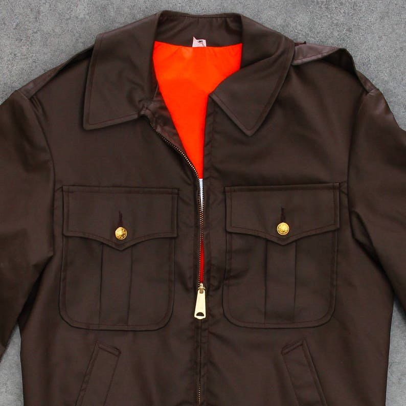 Brown Light Weight Cop Jacket Vintage Size Medium Reflective image 0