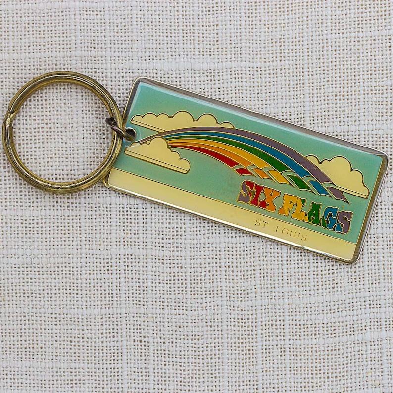 Vintage Six Flags St. Louis Keychain Rainbow Missouri Key FOB image 0