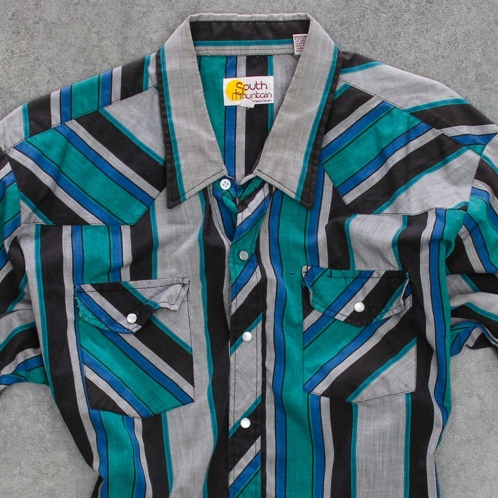 feca1a1b8c Striped Green and Blue Men's Shirt Vintage Size XXL Button Down Top Mens  Black Gray Short Sleeve Pearlized Snaps Light Weight 7W