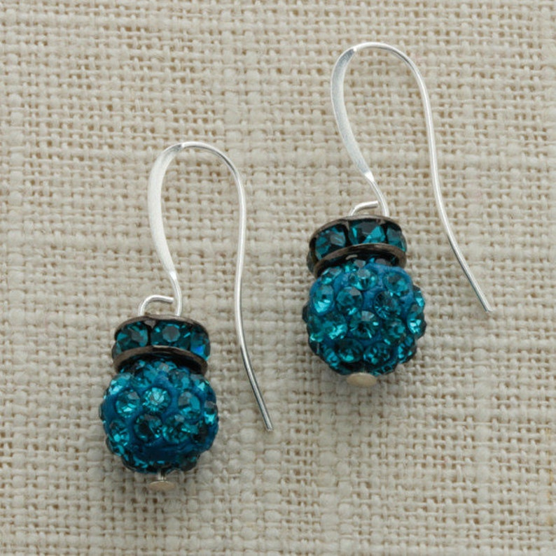 Teal Turquoise Silver Earring French Hooks Handcrafted 6H image 0