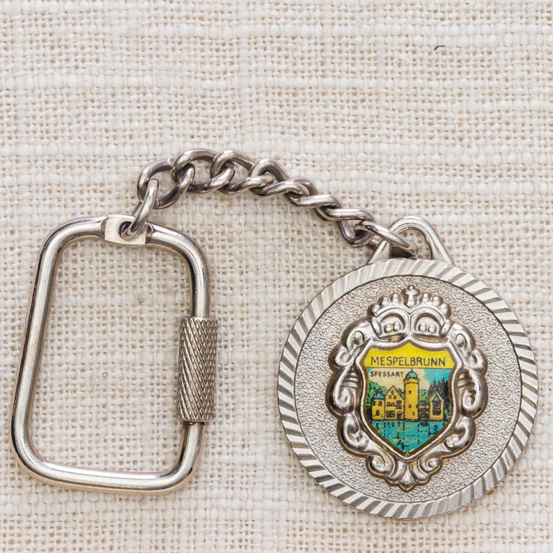 Mespelbrunn Castle Germany Vintage Keychain Round Silver Coin image 0