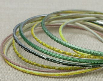 Vintage Pastel Thin Colorful Green Yellow Pink Bracelet Bangle Set Stackable Costume Jewelry Cuff 7OO
