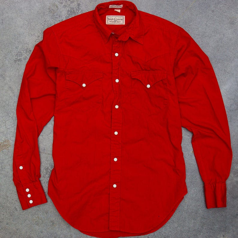 1970s Ralph Lauren Red Western Wear Top Vintage Button Down image 0