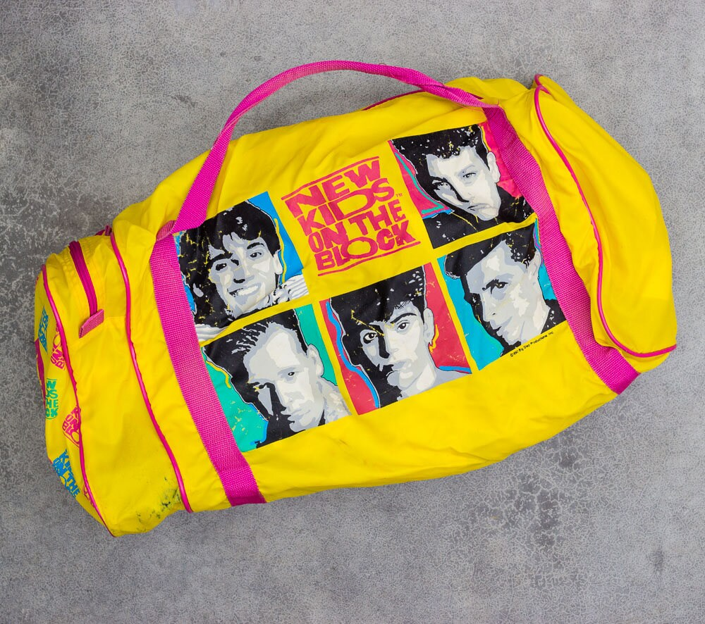 1990 New Kids On The Block Bag Vintage Athletic Duffel Gym Tote 1990s NKOTB  7VV ee3784be3e9c6