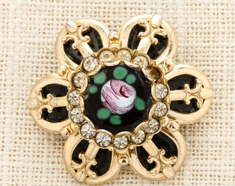 Gold Flower Brooch Vintage Pink Green Enamel Black Rhinestone Broach Costume Jewelry Pin 6Y