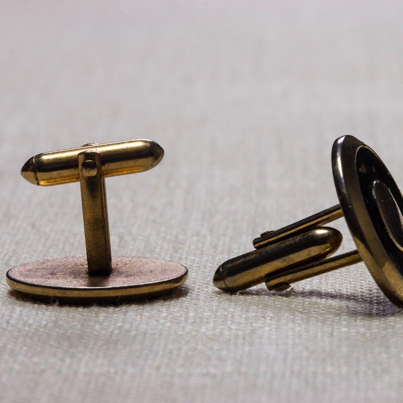 Vintage Cufflinks Round Gold and Black Button Style 1960s Men/'s Accessories Swank Brand Cuff Link Tuxedo Shirt Add On 7UU